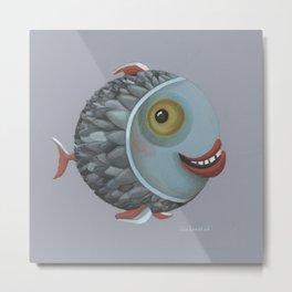Pisces (grey) Metal Print