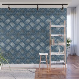 Beige Wavy Tessellation Lines on Dark Tropical Blue Pair To 2020 Color of the Year Chinese Porcelain Wall Mural