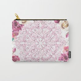 Mandala Rose Garden Pink on White Carry-All Pouch