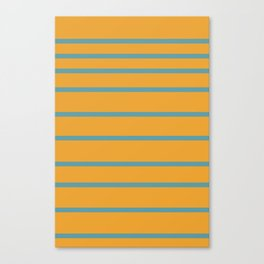 Variable Stripes in Minimalist Mustard Orange and Turquoise Blue Canvas Print