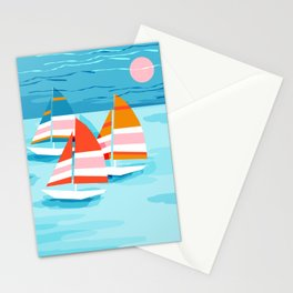 Popin - memphis sports retro throwback neon sailing sailboat cool rad gnarly trendy watersports Stationery Cards