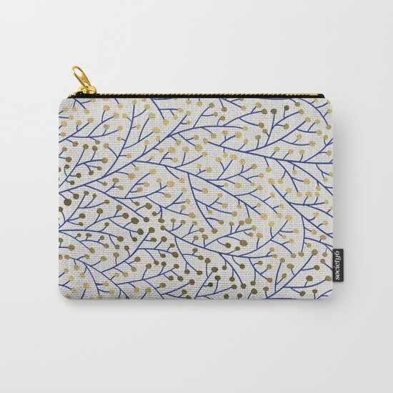Berry Branches - Navy & Gold Carry-All Pouch