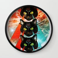 hippy Wall Clocks featuring Hippy Cats by Lauren Miller