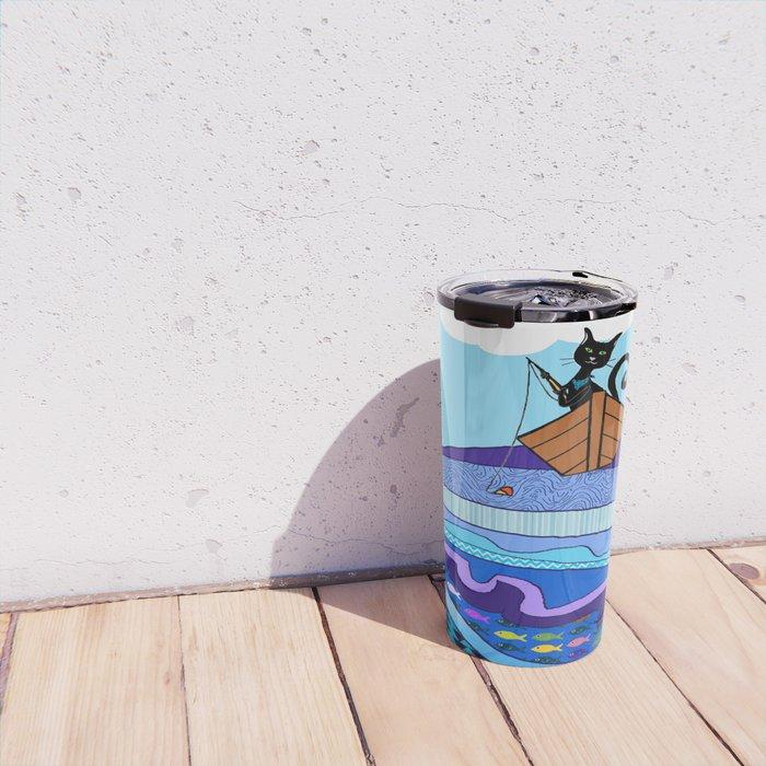 Cat  Fishing Travel Mug