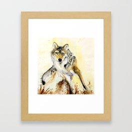 Totem Grey wolf Framed Art Print