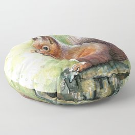 Squirrel and Nut Forest Animals Watercolor Floor Pillow