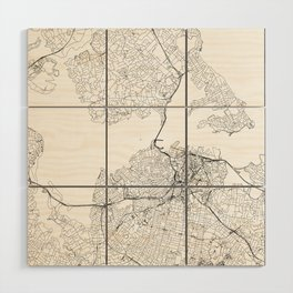 Auckland White Map Wood Wall Art