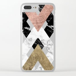 Modern geometric chevron black white marble rose gold foil gold triangles pattern Clear iPhone Case