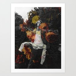 The boy with the orange flowers Art Print