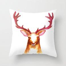 Deer Watercolor Print Throw Pillow