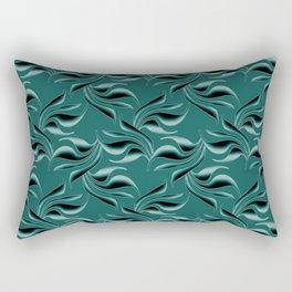 Black swirls on turquoise background. Rectangular Pillow