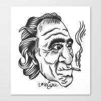bukowski Canvas Prints featuring Bukowski by @VEIGATATTOOER