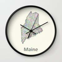 maine Wall Clocks featuring Maine map by David Zydd