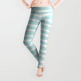 Elegant Stripes Succulent Blue and White Leggings