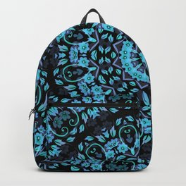 Dark Turquoise Purple Floral Mandala Backpack