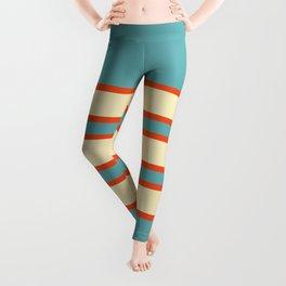 70s Style Blue Beige Orange Retro Stripes Radha Leggings