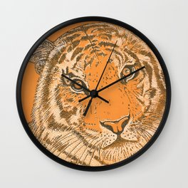 Tiger in Orange Wall Clock