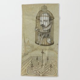 Michel Du Montaigne (1533 - 1592) An Inspirational Philosopher; Prison in the Sky Beach Towel