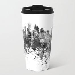 Kansas City skyline in black watercolor Travel Mug