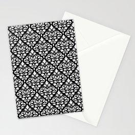 Scroll Damask Pattern White on Black Stationery Cards