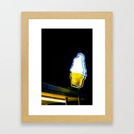 Ice Cream Cone Neon Sign Framed Art Print