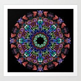 LED Hoop Mandala w/ Fire Art Print