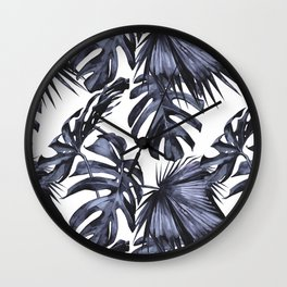 Classic Palm Leaves Navy Blue Wall Clock