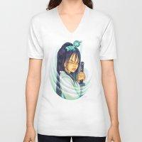 gemma V-neck T-shirts featuring Samurai by Gemma Pallat by ToraSumi