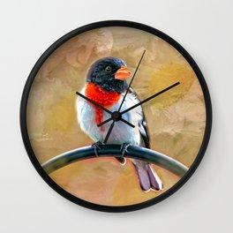 Rose Breasted Grosbeak Wall Clock