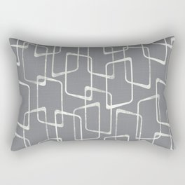 Medium Gray Retro Geometric Pattern Rectangular Pillow