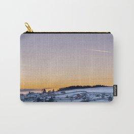 Winter landscape, sunset, village Carry-All Pouch