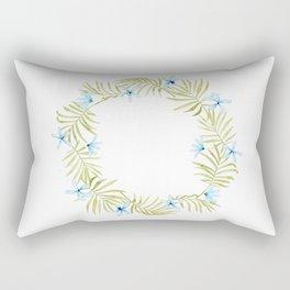 Hawaiian Watercolor Blue Plumeria Wreath Rectangular Pillow