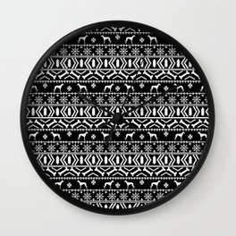 Whippet fair isle dog breed pattern christmas holidays gifts dog lovers black and white Wall Clock