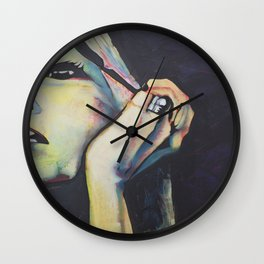 Woman art make up Wall Clock