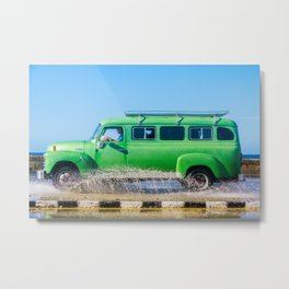 Waves and Classic Cars of the Malecón - 6 Metal Print