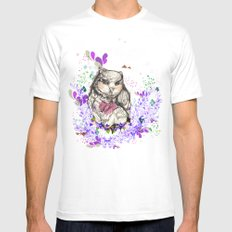 Little Owl SMALL White Mens Fitted Tee