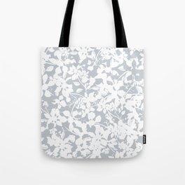 White and Grey Botanical Silhouette Pattern - Broken but Flourishing Tote Bag
