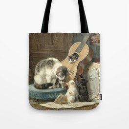 The Musicians - Vintage Cat Painting Tote Bag