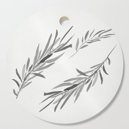 Eucalyptus leaves black and white Cutting Board