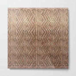 Copper Gold Terracota Geometric Pattern Metal Print