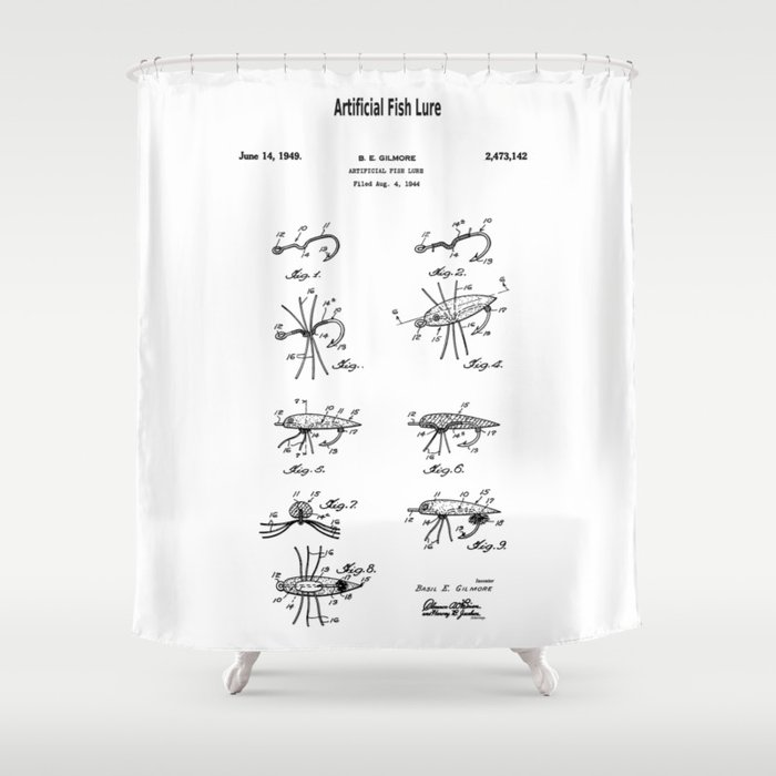 Patent Artificial Fish Lure Shower Curtain By Grenar