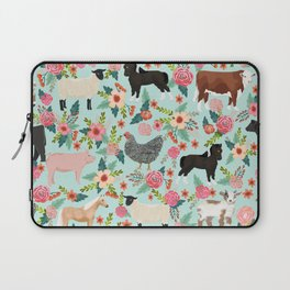 Farm animal sanctuary pig chicken cows horses sheep floral pattern gifts Laptop Sleeve