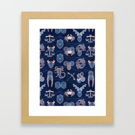 Geometric astrology zodiac signs // navy blue and coral Framed Art Print