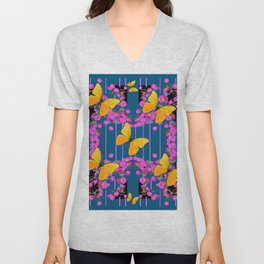 Modern Art Pink Flowers Yellow Butterflies Teal Color Garden Unisex V-Neck