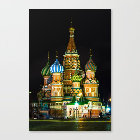 St. Basil's Cathedral on red square in Moscow Canvas Print