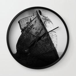 Point Reyes Shipwreck, Dramatic Black and White Art Print Wall Clock