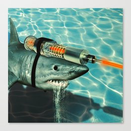 James Bond and Austin Powers Mash Up: A Shark with a Friggin Laser Beam Attached to it's Head Canvas Print