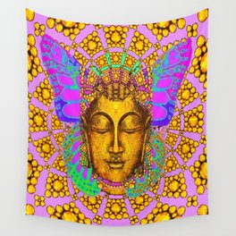 Noveau Butterfly Spirit In Pink-Gold-Purple Abstract Patterns Wall Tapestry