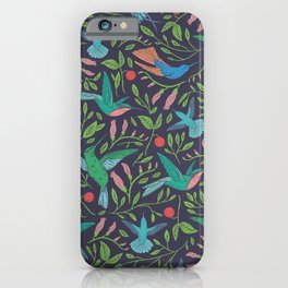 Hummingbirds and Hibiscus Tropical Pattern iPhone Case