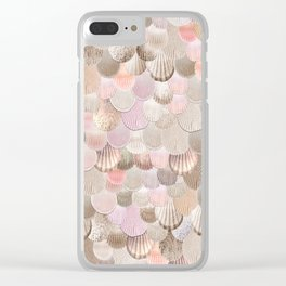 MERMAID SHELLS - CORAL ROSEGOLD Clear iPhone Case